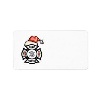 Santa Firefighter Label