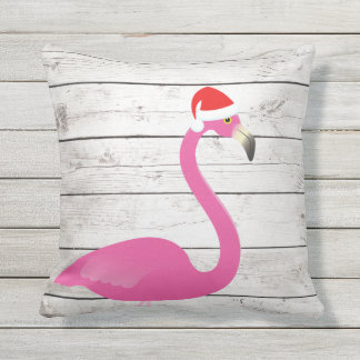 Santa Flamingo Beach Sign Outdoor Pillow