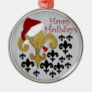 Santa Fleur de lis black and gold Christmas Metal Ornament