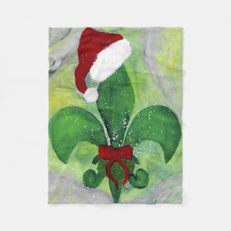 Santa fleur de lis Christmas throw blanket