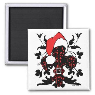 Santa Fleur de lis (red) Square Magnet