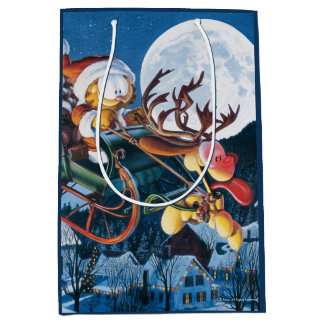 Santa Garfield and Rudolph Odie Medium Gift Bag