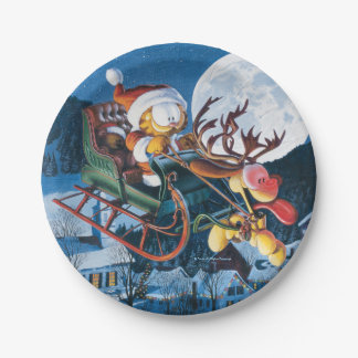 Santa Garfield and Rudolph Odie Paper Plate