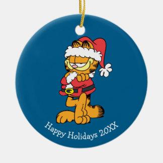 Santa Garfield Christmas Ornament