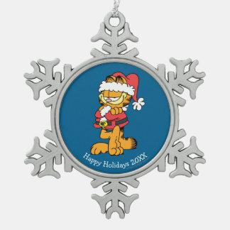 Santa Garfield Pewter Snowflake Ornament