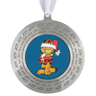 Santa Garfield Round Pewter Ornament