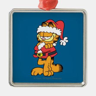 Santa Garfield Silver-Colored Square Ornament