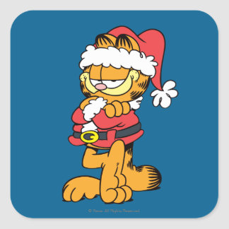 Santa Garfield Square Sticker