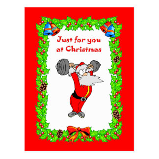 Santa getting fit postcard