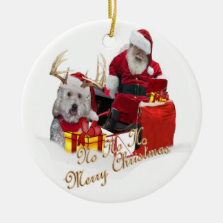 Santa getting in his sled card message round ceramic ornament