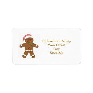 Santa gingerbread man Christmas address label