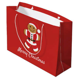 Santa Gingerbread Man | Large Gift Bag