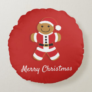 Santa Gingerbread Man | Round Pillow