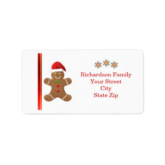 Santa Gingerbread man, snowflakes  Christmas label