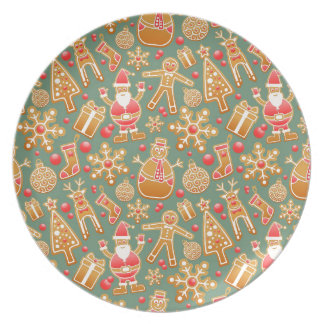 Santa Gingerbread Pattern Dinner Plate