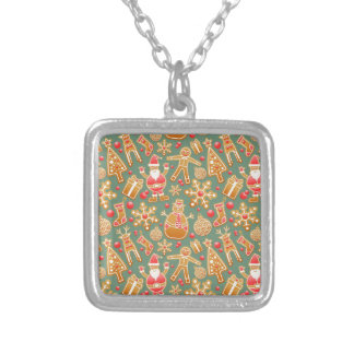 Santa Gingerbread Pattern Silver Plated Necklace