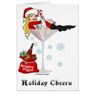 Santa Girl Martini Greeting Card