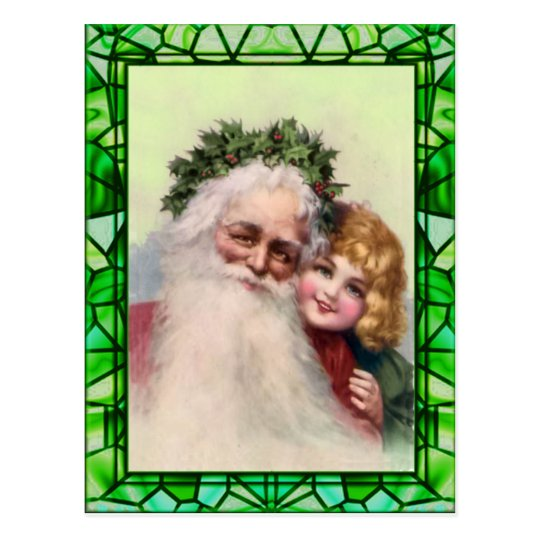 SANTA, GIRL & STAINED GLASS by SHARON SHARPE Postcard