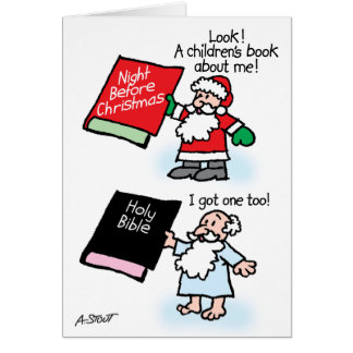 Santa & God children's books Card
