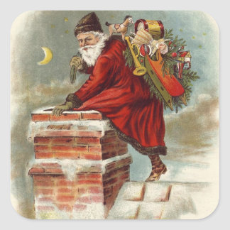 Santa going down the chimney square sticker