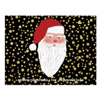 Santa Gold Sparkles Christmas Holiday Postcard