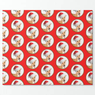 Santa Greyhound Wrapping Paper