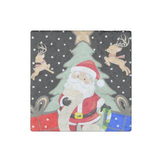 Santa Has A List Stone Magnets