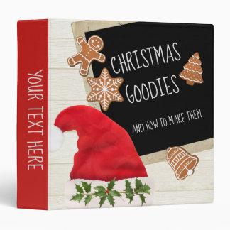 Santa Hat and Blackboard Gingerbread Cookies Vinyl Binder