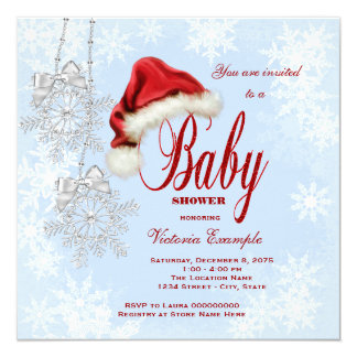 "Santa Hat and Snowflakes Christmas Baby Shower 5.25"" Square Invitation Card"