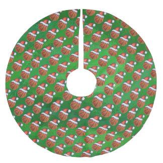 Santa Hat Basketball on Green Brushed Polyester Tree Skirt