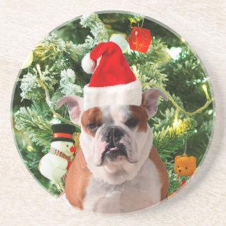 Santa Hat Bulldog Christmas Tree Snowman Gift Box Beverage Coasters