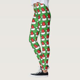 Santa Hat Cap or Fun Holiday Christmas Elf Pattern Leggings