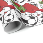 Santa Hat Christmas Soccer Ball | DIY Name Wrapping Paper