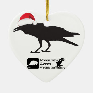 Santa hat crow ornament