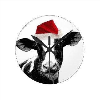 Santa Hat Dairy Cow Round Clock