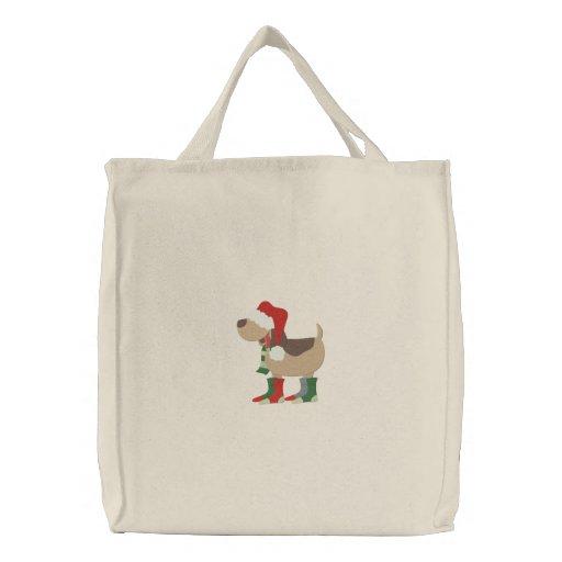 Santa Hat Dog Embroidered Bag