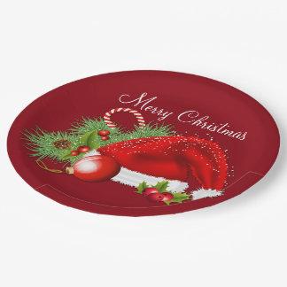 Santa Hat Festive Christmas Red Paper Plates