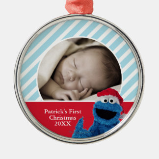 Santa Hat Grover | Add Your Name Silver-Colored Round Ornament
