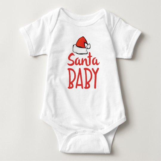 Santa Hat Holiday Santa Baby Saying | Baby Bodysuit