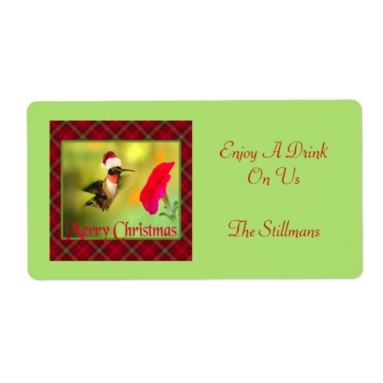Santa Hat Hummingbird Christmas Shipping Label