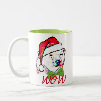 Santa hat polor bear in santa christmas mug design