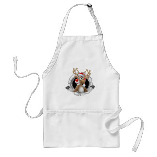 Santa Hat Reindeer Breaking Through Background Standard Apron