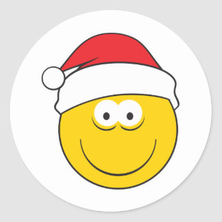 Santa Hat Smiley Face Classic Round Sticker