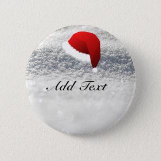Santa Hat, Snow Background template 2 Inch Round Button