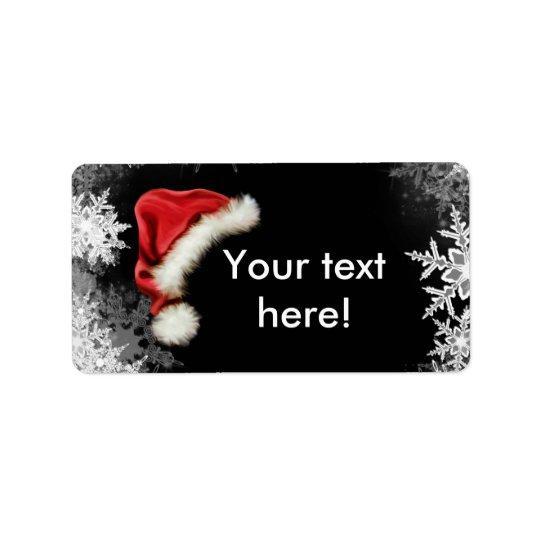 Santa Hat Snowflake Christmas Holiday Label