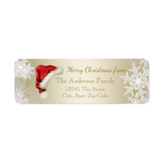 Santa Hat Snowflake Christmas Return Address Return Address Label