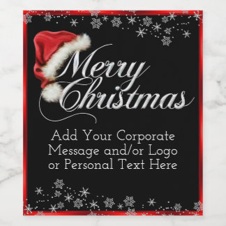 Santa Hat Snowflake Christmas Wine Bottle Labels