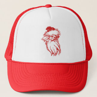 Santa Head Distressed Faux Letterpress Style Trucker Hat