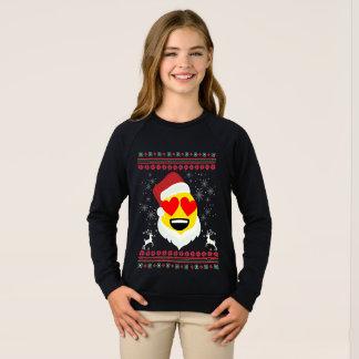 Santa Heart Eyes Smile Emoji Ugly Christmas Sweatshirt