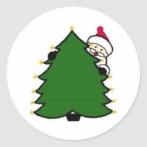 Santa Hides Behind Christmas Tree Round Sticker